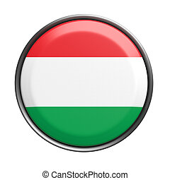 Button with Hungary flag - 3d rendering of Hungary button on...