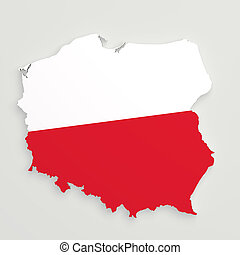 Silhouette of Poland map with flag - 3d rendering of Poland...