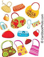 purse set - vector illustration of a cute purse set