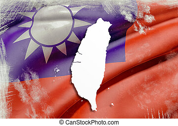 Taiwan map - 3d rendering of a Taiwan map with flag