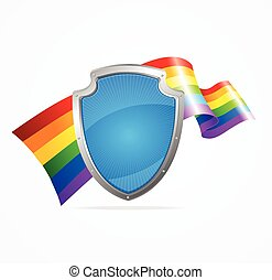 Lgbt Flag and Shield. Vector - Lgbt Flag and Shield Isolated...