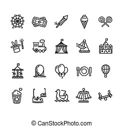 Amusement Park Outline Icon Set. Vector - Amusement Park...