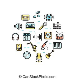 Music Round Design Template Thin Line Icon. Vector