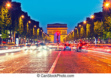 Arch of Triumph, Paris - Arch of Triumph and Champs Elysees...