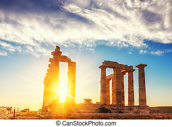 ruínas, de, Poseidon, Templo,