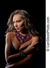 Luxury life and glamour Pretty model touts jewels - Luxury...