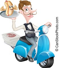 Cartoon Butler on Scooter Moped Delivering Hot Dog - An...