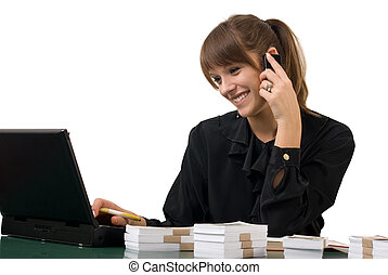 Business women at office - Young pretty business women at...
