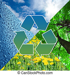 recycling sign with images of nature - eco concept -...