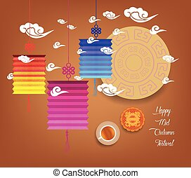 Mid autumn festival with lantern colorful Background