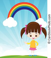 Cute little girl pointing the finger on sunburst and blue sky with rainbow vector illustration