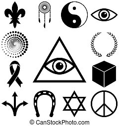 Religion, esoteric and mystery icons set Vector illustration...