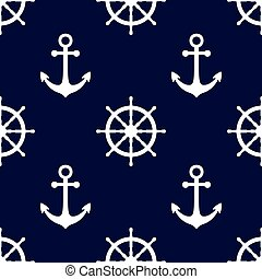 Marine background in navy blue and white colors. Sea theme. Cute seamless pattern