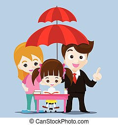 Family protect concept business man cartoon smile and...