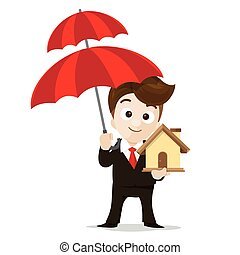 Business protection concept business man cartoon smile holding umbrella and home  in hand with vector illustration eps10