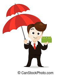Business protection concept business man cartoon smile holding umbrella and money in hand with vector illustration eps10 002