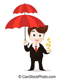 Business protection concept business man cartoon smile holding umbrella and money in hand with vector illustration eps10