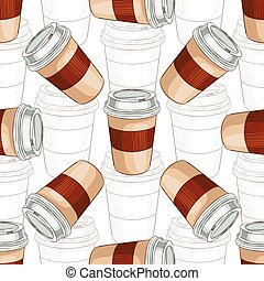 Seamless pattern coffee to go scetch and color. Take away...
