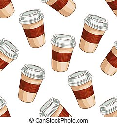 Seamless pattern coffee to go. Take away coffee cup. Vector...