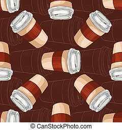 Seamless pattern coffee to go on dark background. Take away...