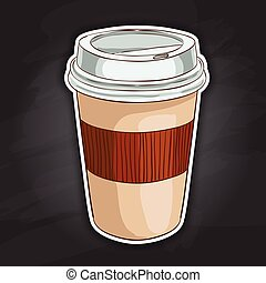 Coffee to go color picture sticker - Close up take-out...