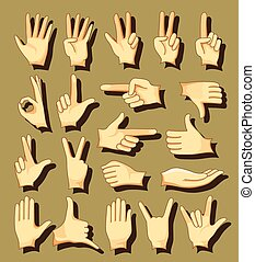 Hand signs icons set