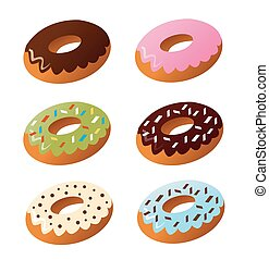 Set of cute sweet colorful donuts