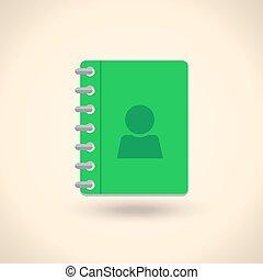 Address phone book, notebook icon Flat style design Vector