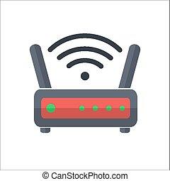 Wi fi wireless router web icon in flat style - Wi fi...