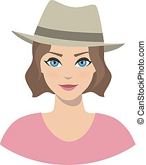 Avatar icon of girl in a fedora hat on a white background....