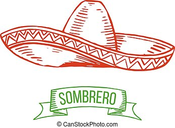 Sombrero hand-drawing - Hand drawing sombrero isolated on...