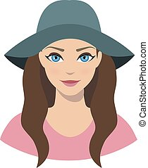 Avatar icon of girl in a wide brim felt hat on a white...