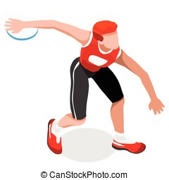 Athletics Discus Throw 2016 Sports 3D Vector Illustration -...