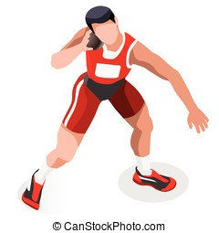 Athletics Shot Put Sports 3D Vector Illustration - Athletics...