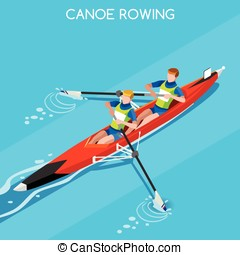 Canoe Coxless Pair 2016 Summer Games 3D Vector Illustration...