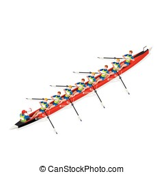 Canoe Coxswain Eight 2016 Sports 3D Vector Illustration -...