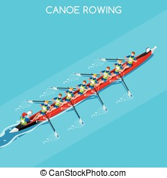 Canoe Coxswain Eight Summer Games 3D Vector Illustration -...