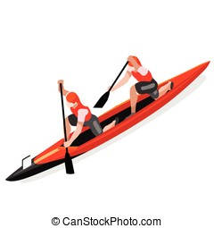 Canoe Double 2016 Sports Isometric 3D Vector Illustration -...