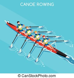 Canoe Quadruple Sculls 2016 Summer Games 3D Vector...