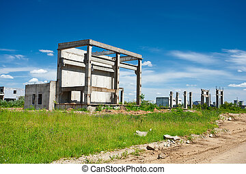 Abandoned industrial buildings - Landscape with abandoned...