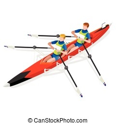 Canoe Rowing 2016 Sports Isometric 3D Vector Illustration -...
