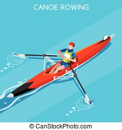 Canoe Rowing Single 2016 Summer Games 3D Vector Illustration...