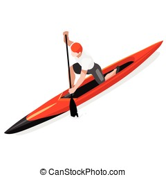 Canoe Sprint Sports Isometric 3D Vector Illustration - Canoe...