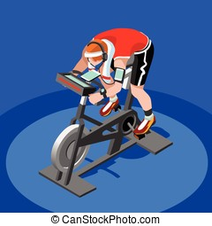 Exercise Bike Spinning Fitness Class 3D Flat Vector Image -...