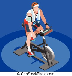 Exercise Bike Spinning Fitness Class 3D Isometric Vector...