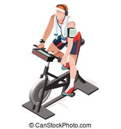 Exercise Bike Spinning Fitness Class Isometric 3D Vector...