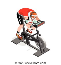 Exercise Bike Spinning Fitness Class Isometric Vector Image...