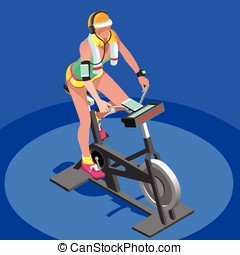 Exercise Bike Spinning Gym Class 3D Isometric Vector Image -...