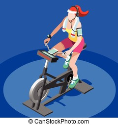 Exercise Bike Spinning Gym Class 3D Vector Image - Exercise...