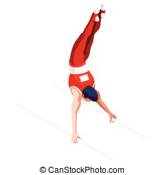 Gymnastics Parallel Bars Sports 3D Vector Illustration